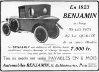 benjamin-pub-1923-300x217 Benjamin 1929 Cyclecar / Grand-Sport / Bitza Divers