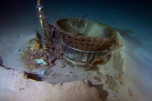 A piece of an Apollo 11 F-1 engine found on the Atlantic Ocean floor by Bezos Expeditions. Photo courtesy Bezos Expeditions