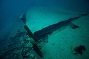 Casco fragmentado Casco fragmentado de un barco de la Primera Guerra Mundial. Foto- Maritime Archaeology Trust