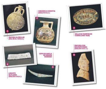 Algunas de las piezas que pueden verse en el Museo de Almería.