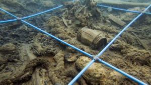 Imagen del yacimiento submarino Deltebre I, que ha resultado ser excepcional por las numerosas piezas que se conservaban y se han podido recuperar del fondo del mar