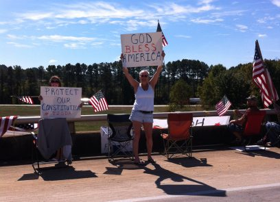 Groups Rally on Bartow Overpasses in Support of Truckers, Troops, Veterans