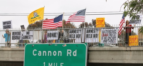 Impeach Obama Overpass Protest - President's Weekend