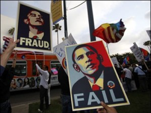 Early Tea Party protests were often anti-Obama
