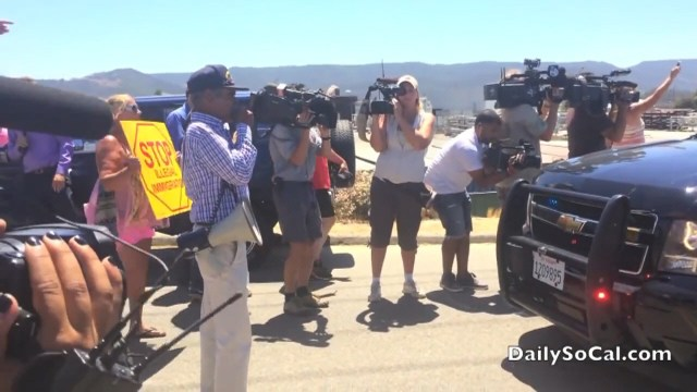 Raymond Herrera blocking illegal alien bus caravan in Murrieta