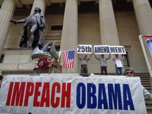 Protest in a dramatic setting Federal Hall, NYC by LaRouchePAC