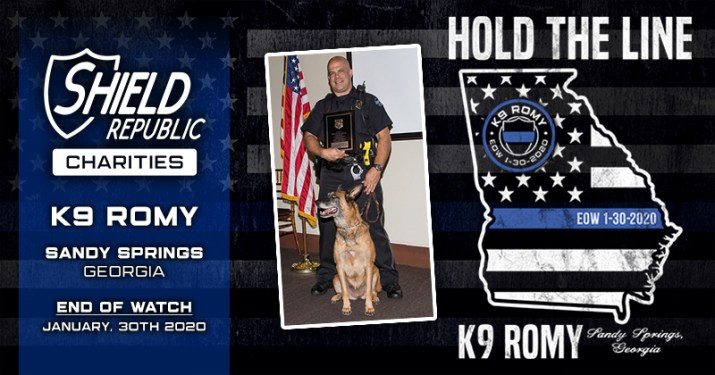 shield republic hold the line thin blue line K9 Romy fundraiser