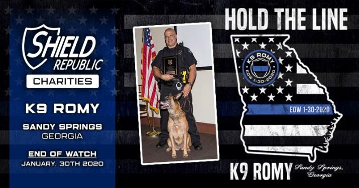 shield republic hold the line thin blue line K9 Romy fundraiser