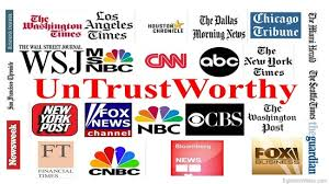 A picture of the Mainstream Media's logos and the word UnTrustWorthy in the center.