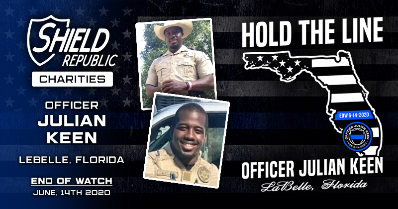 Officer Julian Keen FWC t-shirt fundraiser shield republic