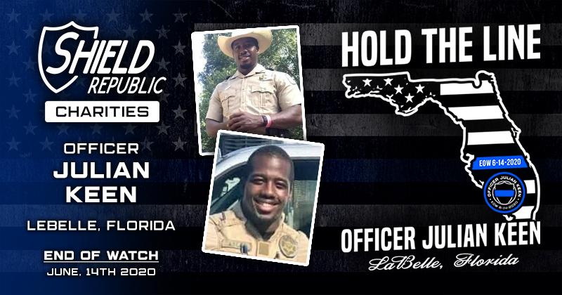 Officer Julian Keen FWC t-shirt fundraiser shield republic