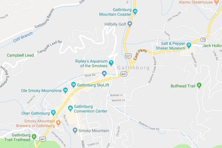Google Map of Gatlinburg