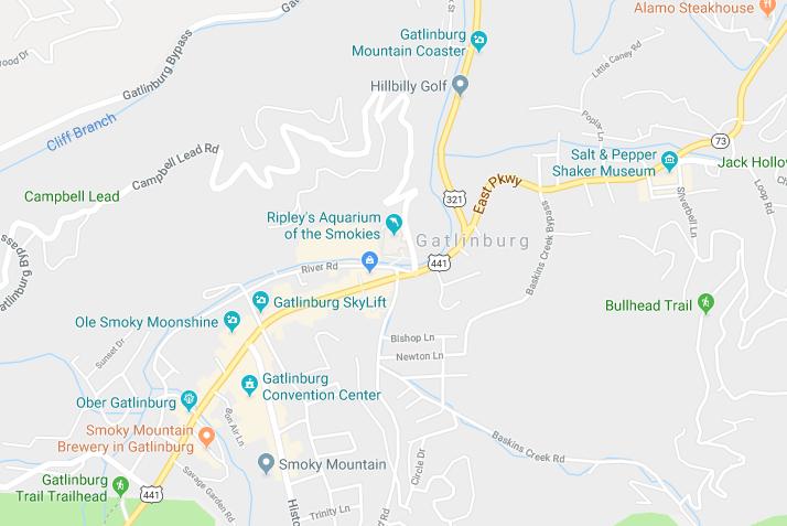 Google Map of Gatlinburg