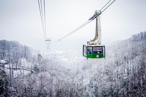 An Aerial Tram heading through snow-covered mountains.