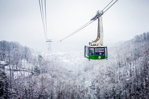 An Aerial Tram heading through snow-covered mountains.