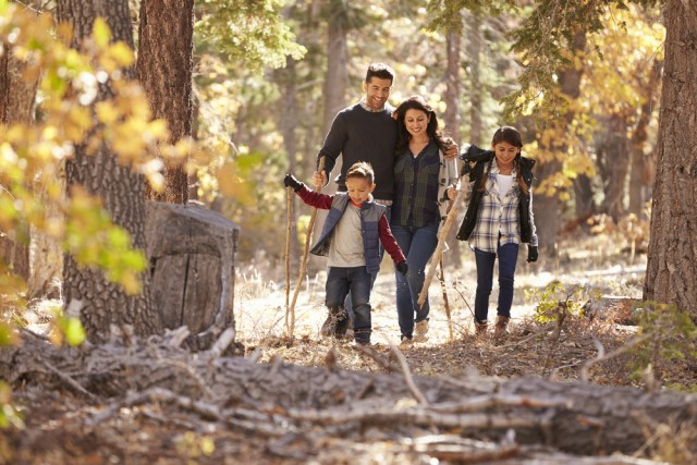 Family hiking together through the woods.