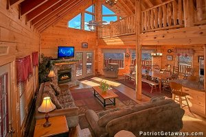 Living room and large windows in Tennessee Dreamer