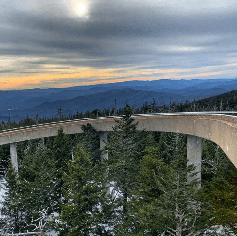 A winter sunset at Clingmans Dome
