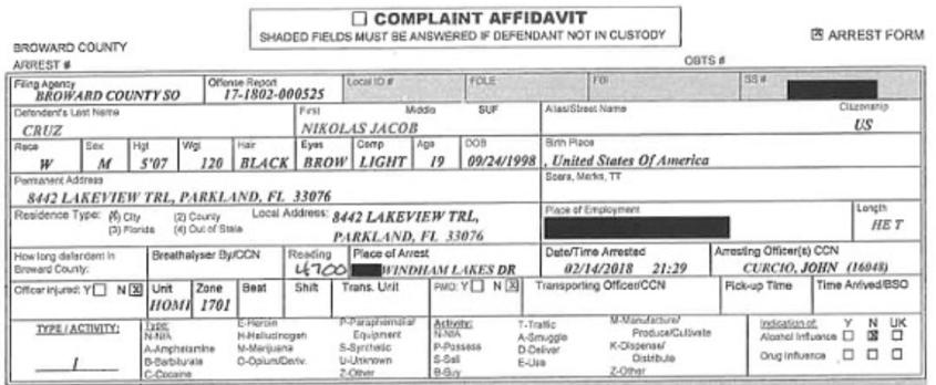 complaint afadavit