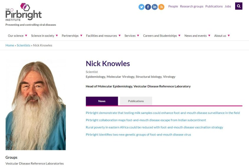 Nick J. Knowles. (Accessed Apr. 24, 2020). Biography and Writings. The Pirbright Institute (UK).