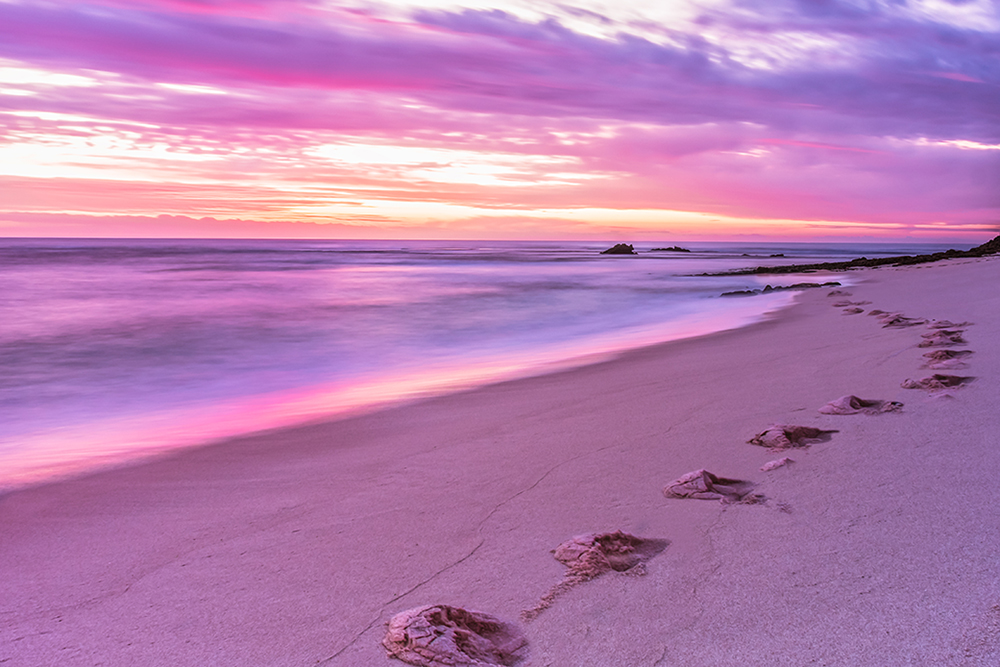 footprints footsteps photograph by professional Patrizia Acco Photographer Beach Colours Summer Landscape Beachscape Seascape Water Sunset Sunrise Oceans Sand