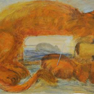 9_The-lion-and-the-mouse_35x49cm_Acrylic-and-mixed-media-on-paper_2011