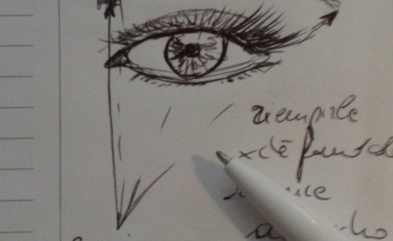 schizzo rapido a penna per definire l'arco sopraccigliare