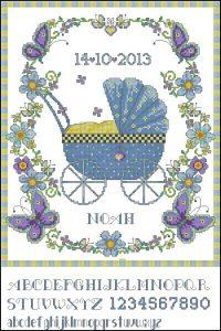 Esquema de punto de cruz para descargar GRATIS en PDF, imprimir y bordar cuadro natalicio de bebé