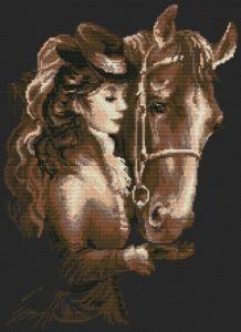 Esquema de punto de cruz para descargar GRATIS en PDF, imprimir y bordar mujer amazona con caballo
