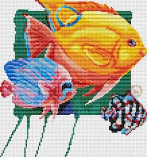Gráfico de punto de cruz para descargar GRATIS en PDF, imprimir y bordar peces de colores