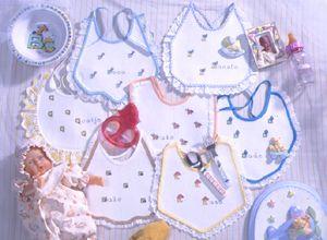 Patrones de punto de cruz para descargar GRATIS en PDF, imprimir y bordar adornos para baberos de bebé