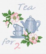 Gráfico de punto de cruz para descargar GRATIS en PDF, imprimir y bordar juego de té