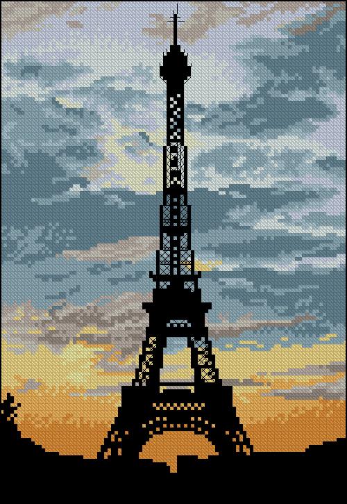 Gráfico de punto de cruz para descargar GRATIS en PDF y bordar Torre Eiffel de París