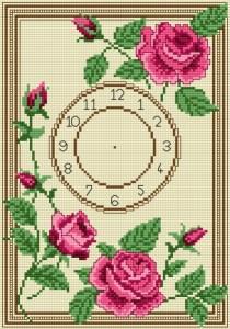 Gráfico de punto de cruz para descargar GRATIS en PDF, imprimir y bordar reloj de flores