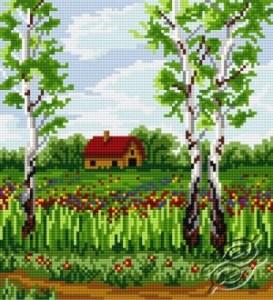 Gráfico de punto de cruz para descargar GRATIS en PDF, imprimir y bordar dibujo de paisaje en primavera