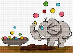 Gráfico de punto de cruz para descargar GRATIS en PDF, imprimir y bordar dibujo infantil con elefantito