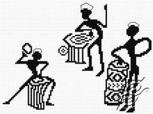 Esquema de punto de cruz para descargar GRATIS en PDF, imprimir y bordar unos músicos africanos