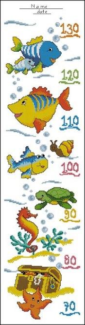Gráfico de punto de cruz para descargar GRATIS en PDF, imprimir y bordar medidor infantil de peces