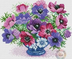 Esquema de punto de cruz para descargar GRATIS en PDF, imprimir y bordar jarrón con flores anémonas