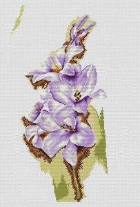 Gráfico de punto de cruz para descargar GRATIS en PDF, imprimir y bordar flores gladiolos