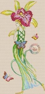 Esquema de punto de cruz para descargar GRATIS en PDF, imprimir y bordar una dama con flores y mariposas