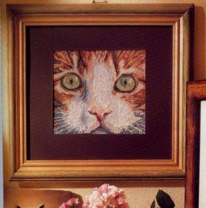 Esquema de punto de cruz para descargar GRATIS en PDF, imprimir y bordar cara de gato