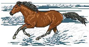 Esquema de punto de cruz para descargar GRATIS en PDF, imprimir y bordar caballo corriendo en la playa