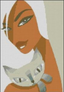 Gráfico de punto de cruz para descargar GRATIS en PDF, imprimir y bordar dibujo de mujer y gato