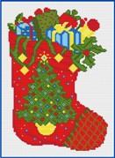 Gráfico de punto de cruz para descargar GRATIS en PDF, imprimir y bordar calcetín de Navidad