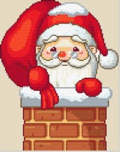 Gráfico de punto de cruz para descargar GRATIS en PDF, imprimir y bordar a Papá Noel