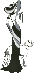 Gráfico de punto de cruz para descargar GRATIS en PDF, imprimir y bordar mujer con su perro