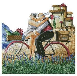 Gráfico de punto de cruz para descargar en PDF, imprimir y bordar dibujo de recién casados en bicicleta