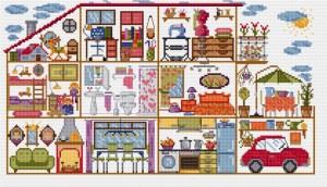 Gráfico de punto de cruz para descargar GRATIS en PDF, imprimir y bordar casa completa con todas sus habitaciones