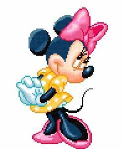 Gráfico de punto de cruz para descargar GRATIS en PDF, imprimir y bordar dibujo Disney de Minnie Mouse
